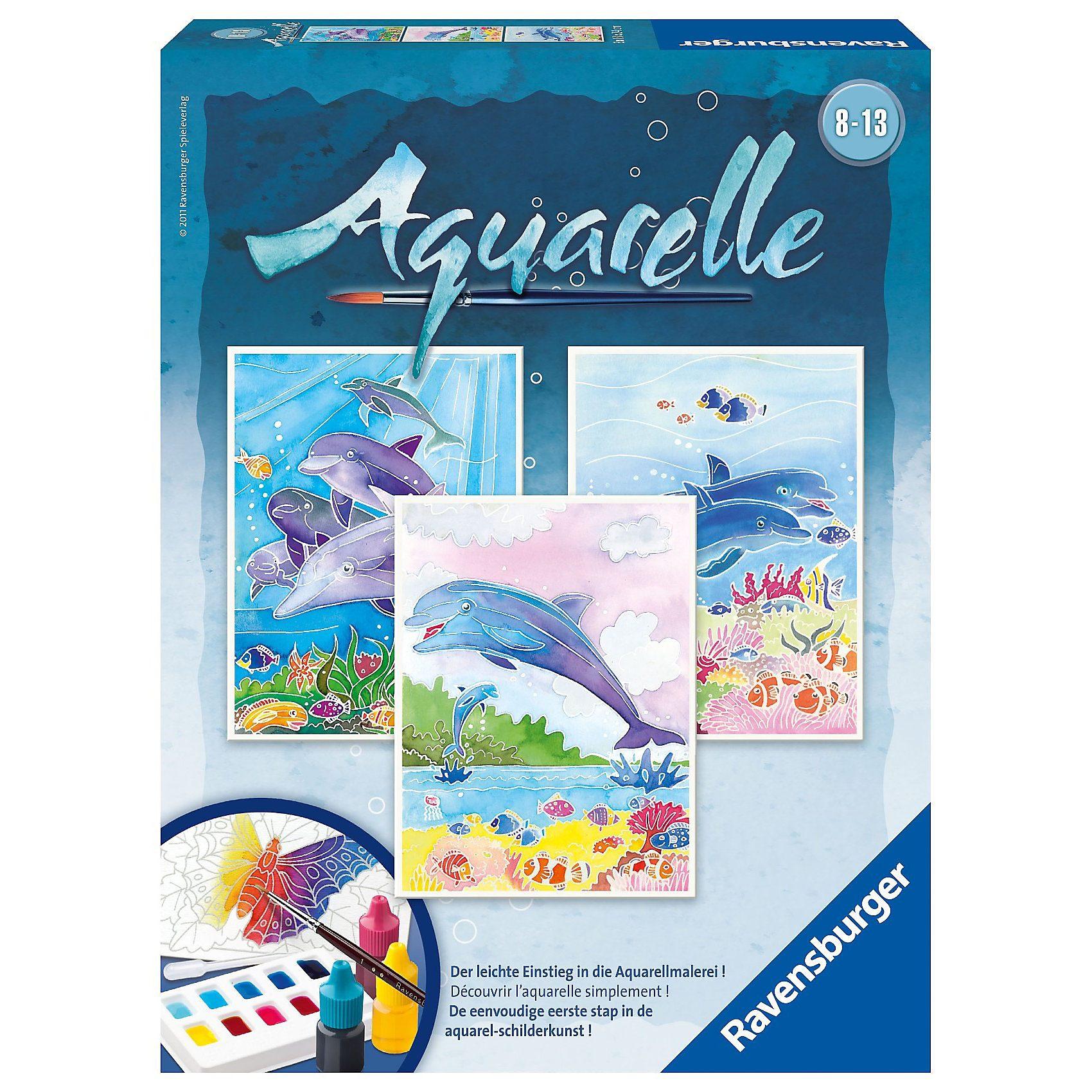 Ravensburger Aquarelle Midi - Delfine (3 Motive), 18x24 cm