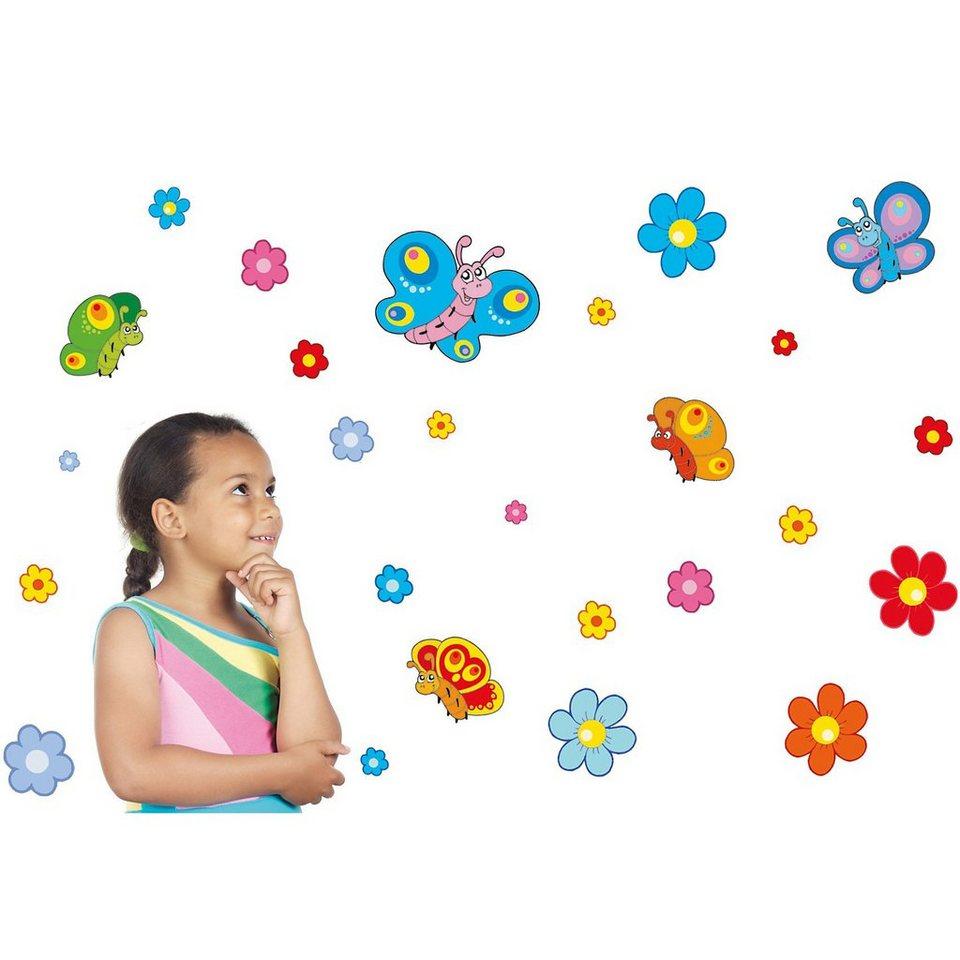 Wandsticker Blumen und Schmetterlinge, 26-tlg. in mehrfarbig