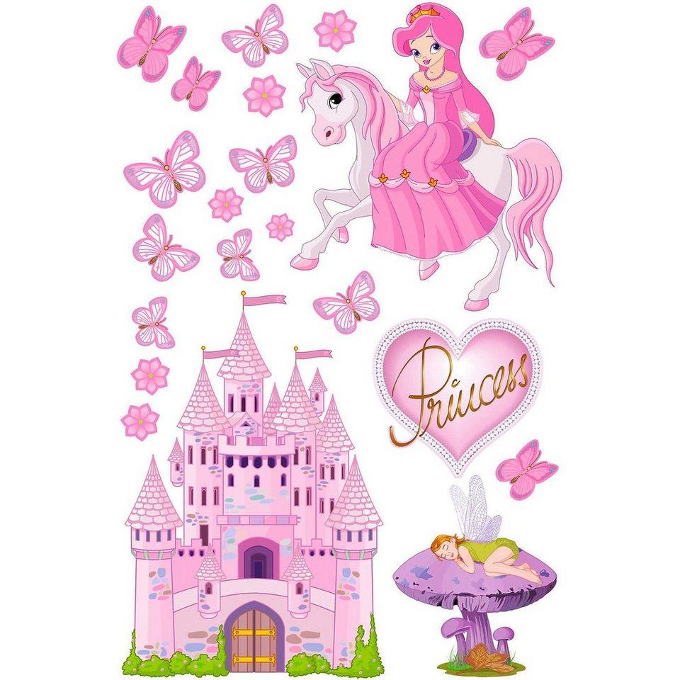 Wandsticker Prinzessinnenwelt, 21-tlg. in rosa