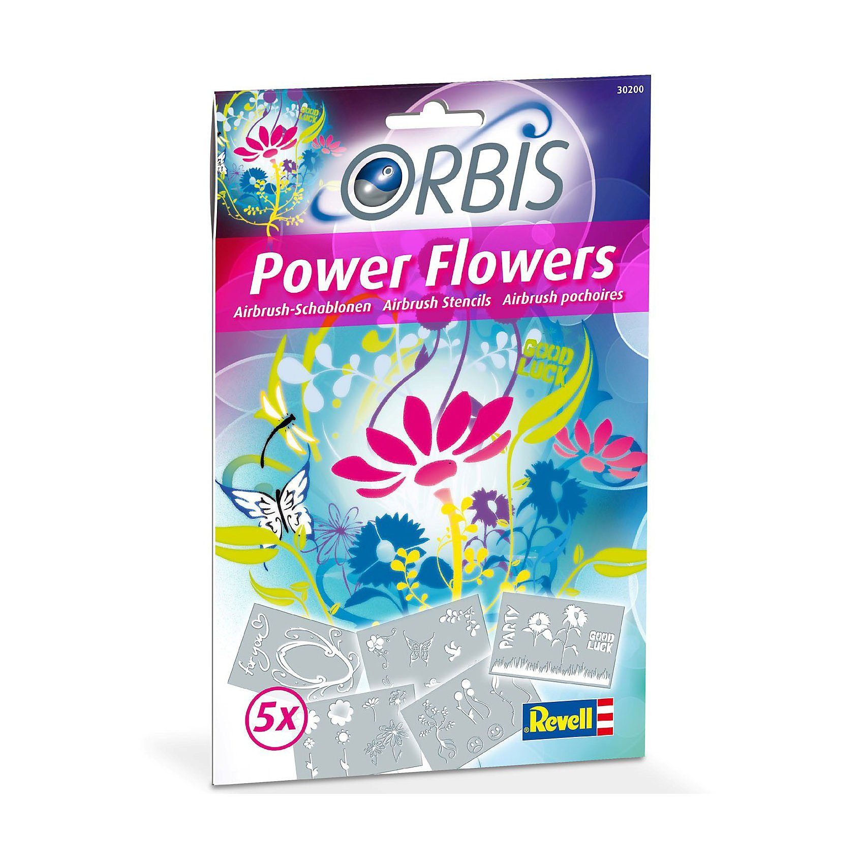 Revell Orbis 30200 Airbrush Schablonen-Set Power Flowers