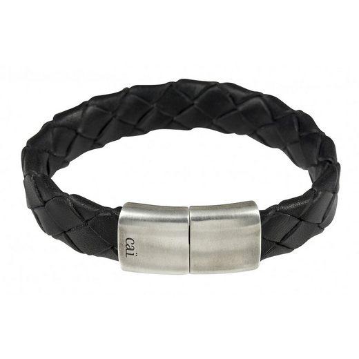 CAÏ Armband »925/- Sterling Silber rhodiniert Lederband Magnetv«