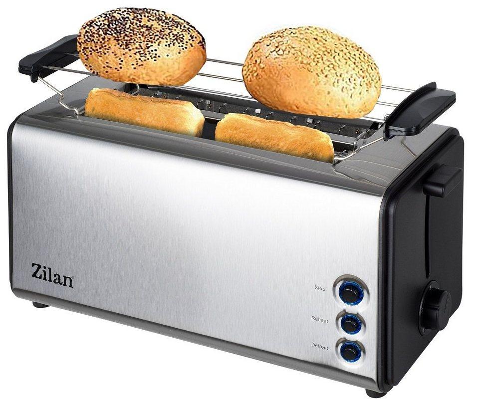 Edelstahl Doppelschlitz Toaster 2 extragroße Toast Schlitze 5 Stufen 1000W