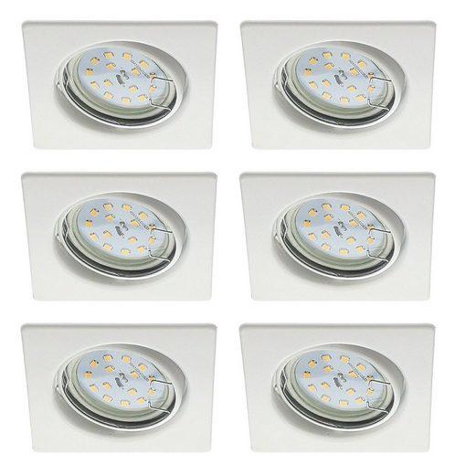 TRANGO LED Einbaustrahler, 6er Set 6729-066SMOSD LED Einbaustrahler Weiß matt Eckig inkl. 6x 5 Watt 3 Stufen dimmbar Ultra Flach LED Modul 3000K warmweiß Einbauleuchte, Deckenspot, Einbauspot, Deckenleuchte, Downlight