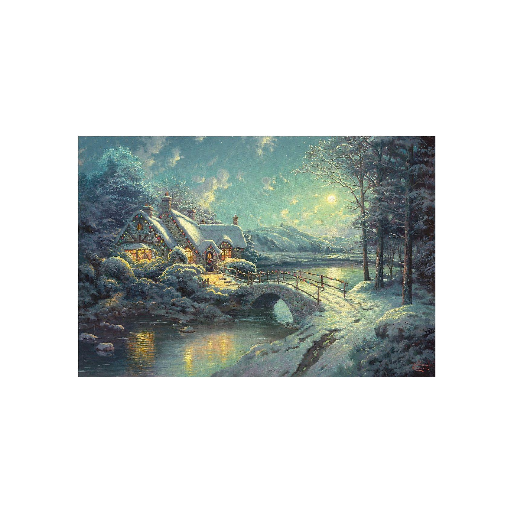 Schmidt Spiele Puzzle 500 Teile Thomas Kinkade, Winterliches Mondlicht