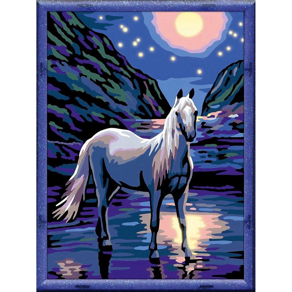 ravensburger malen nach zahlen pferde pferd bei nacht 18x24 cm online kaufen otto. Black Bedroom Furniture Sets. Home Design Ideas