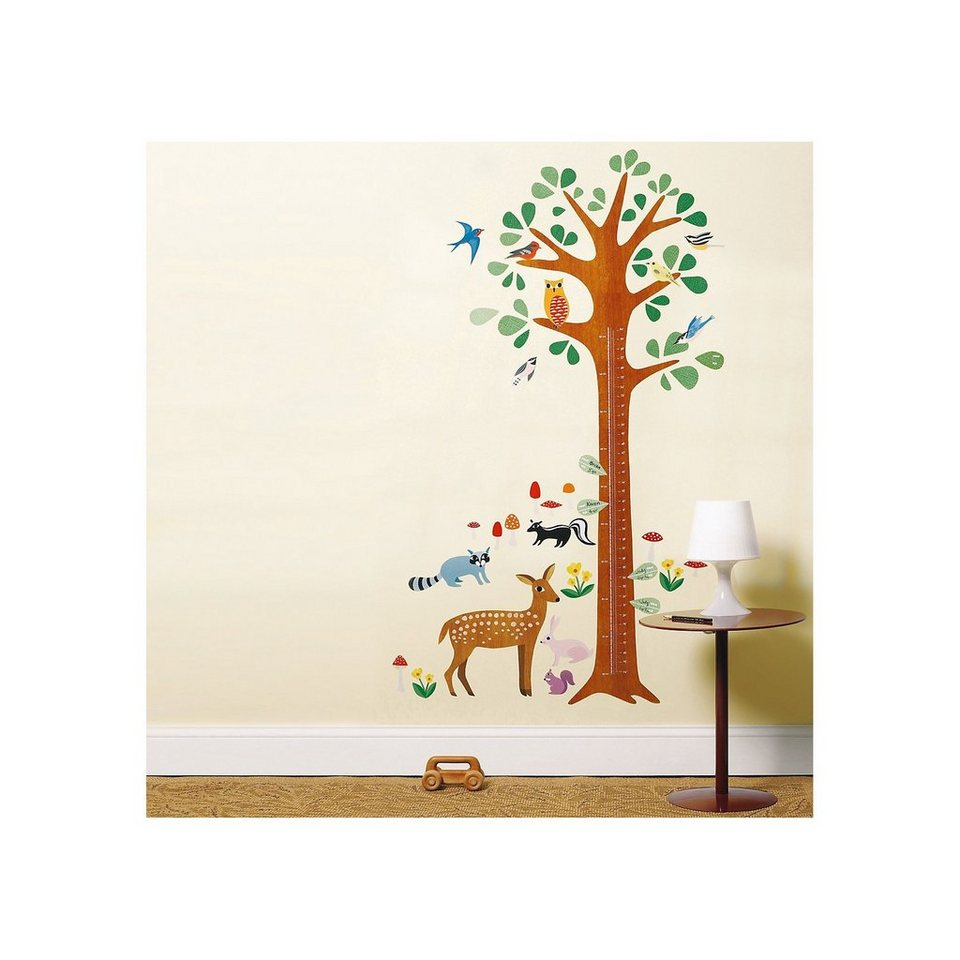 WALLIES Wandsticker Messlatte Wald in braun