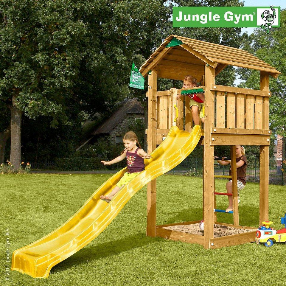 jungle gym spielturm cottage rutsche gelb kaufen otto. Black Bedroom Furniture Sets. Home Design Ideas