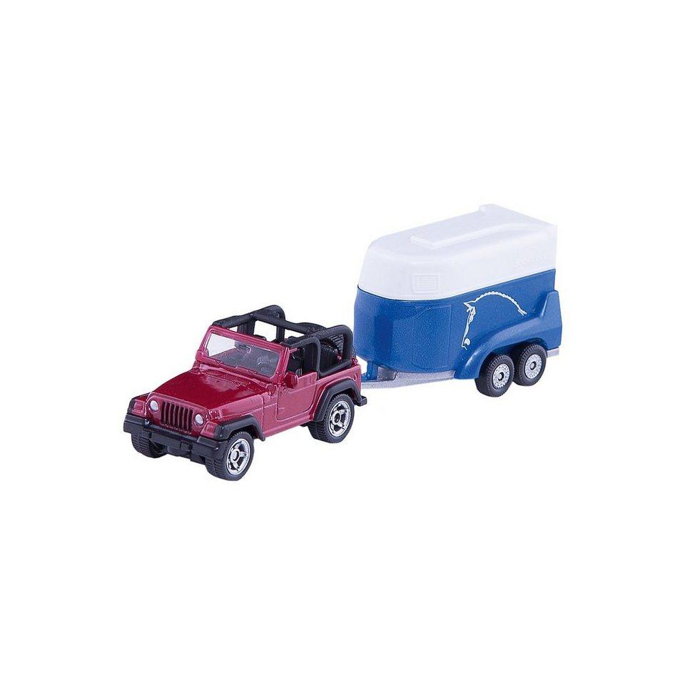 SIKU 1651 Jeep mit Pferdeanhänger
