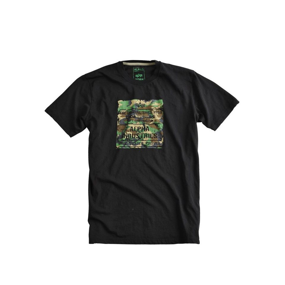 ALPHA INDUSTRIES T-Shirt »Woody T« in black