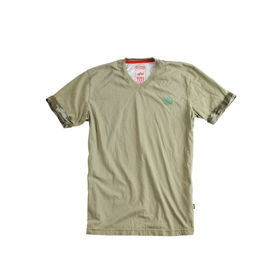 ALPHA INDUSTRIES T-Shirt »Camo Back T« in olive