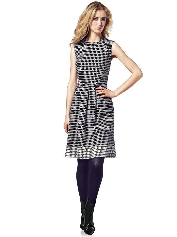 Jerseykleid in weiß/schwarz