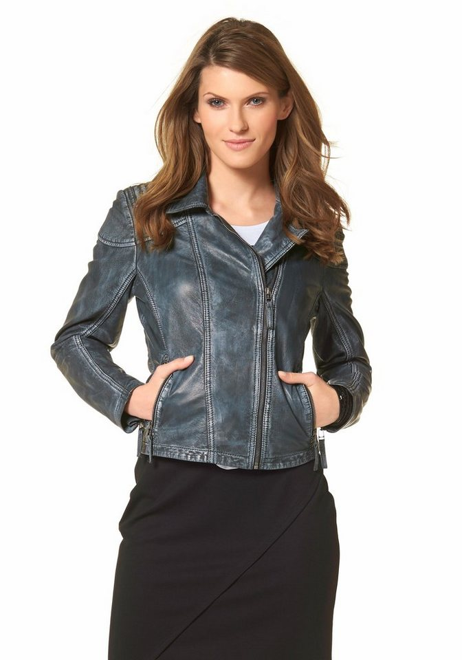 Aniston Lederjacke aus hochwertigem Schafsleder in jeans