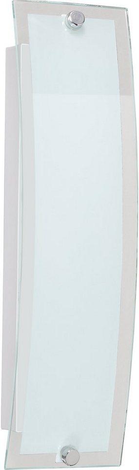 Wandleuchte, inkl. LED, 1 flammig, Wofi in Nickel matt, Glas weiß mit Klarrand