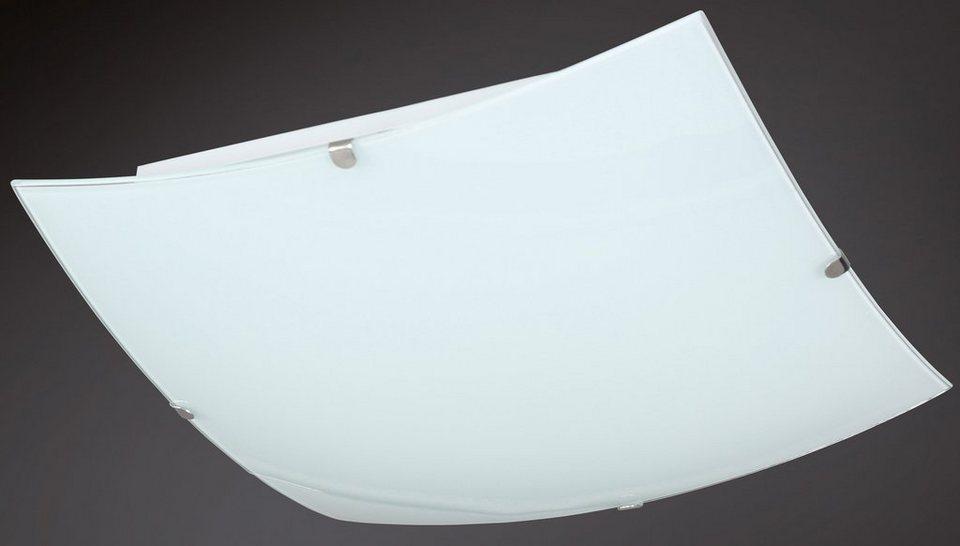 Deckenleuchte, inkl. LED, 1 flammig, Wofi in Nickel matt, Glas weiß mit Klarrand