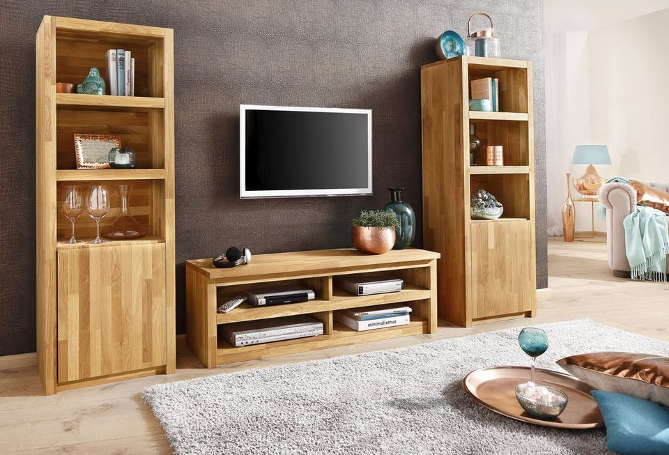 home affaire wohnwand una 3 tlg vollmassiv aus eiche online kaufen otto. Black Bedroom Furniture Sets. Home Design Ideas