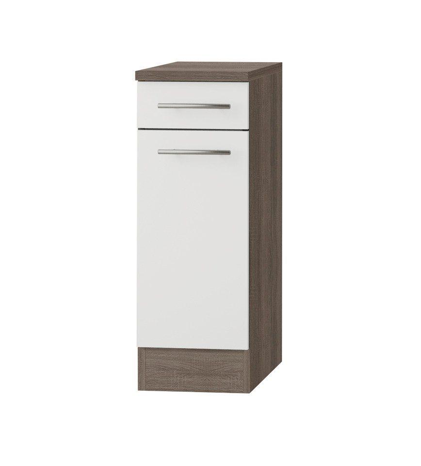 Küchenunterschrank »Rabat«, Breite 30 cm in weiß/eichefarben trüffel