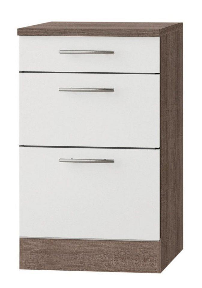 Küchenunterschrank »Rabat«, Breite 50 cm in weiß/eichefarben trüffel