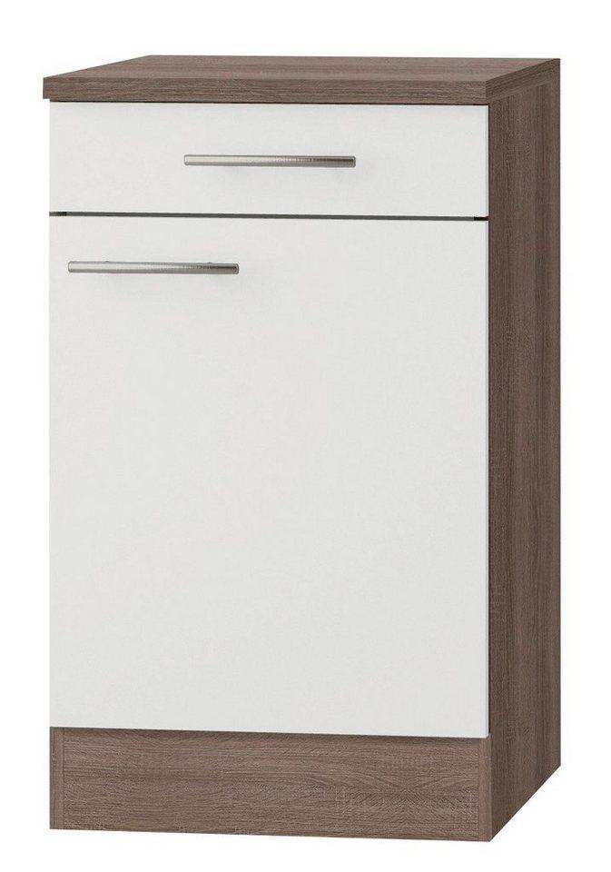 Optifit Küchenunterschrank »Rabat«, Breite 50 cm in weiß/eichefarben trüffel