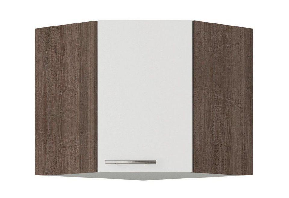 Eck-Hängeschrank »Rabat«, Breite 60 x 60 cm in weiß/eichefarben trüffel