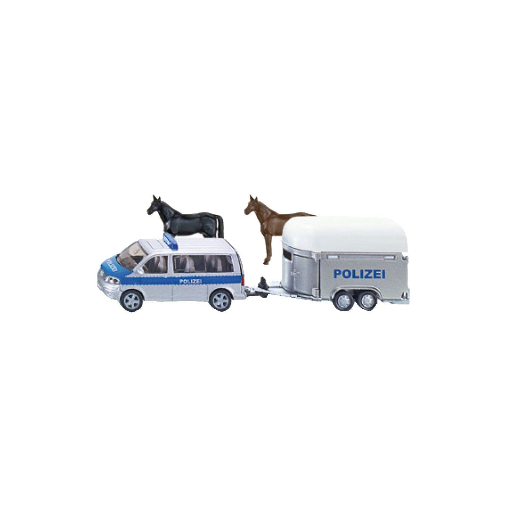 SIKU 2310 Polizei PKW mit Pferdeanhänger 1:55