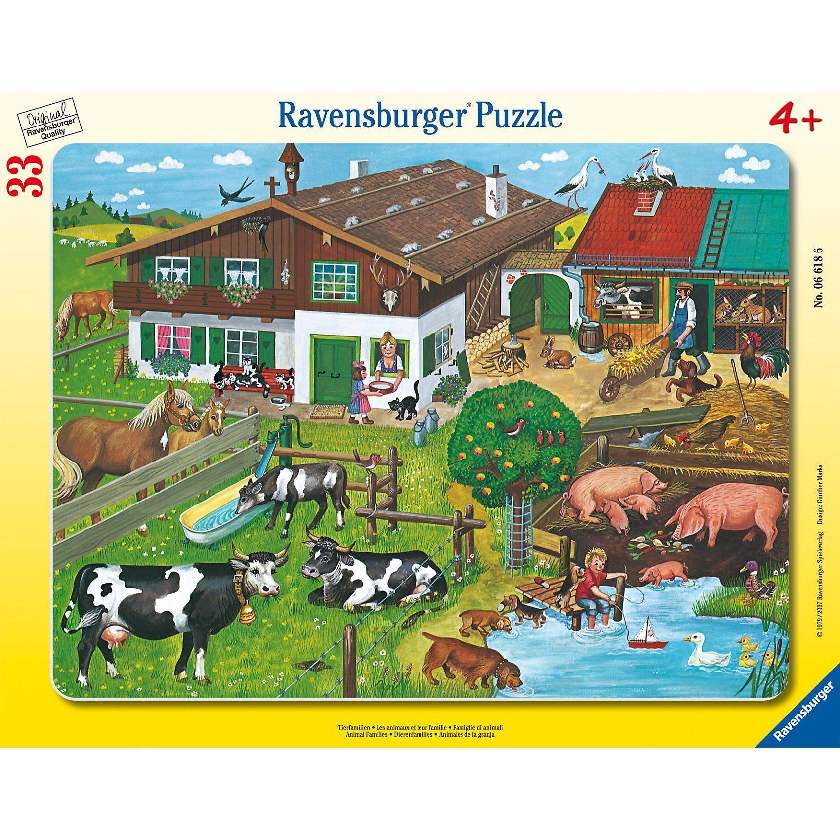 Ravensburger Puzzle Rahmen- 33 Teile- Tierfamilien