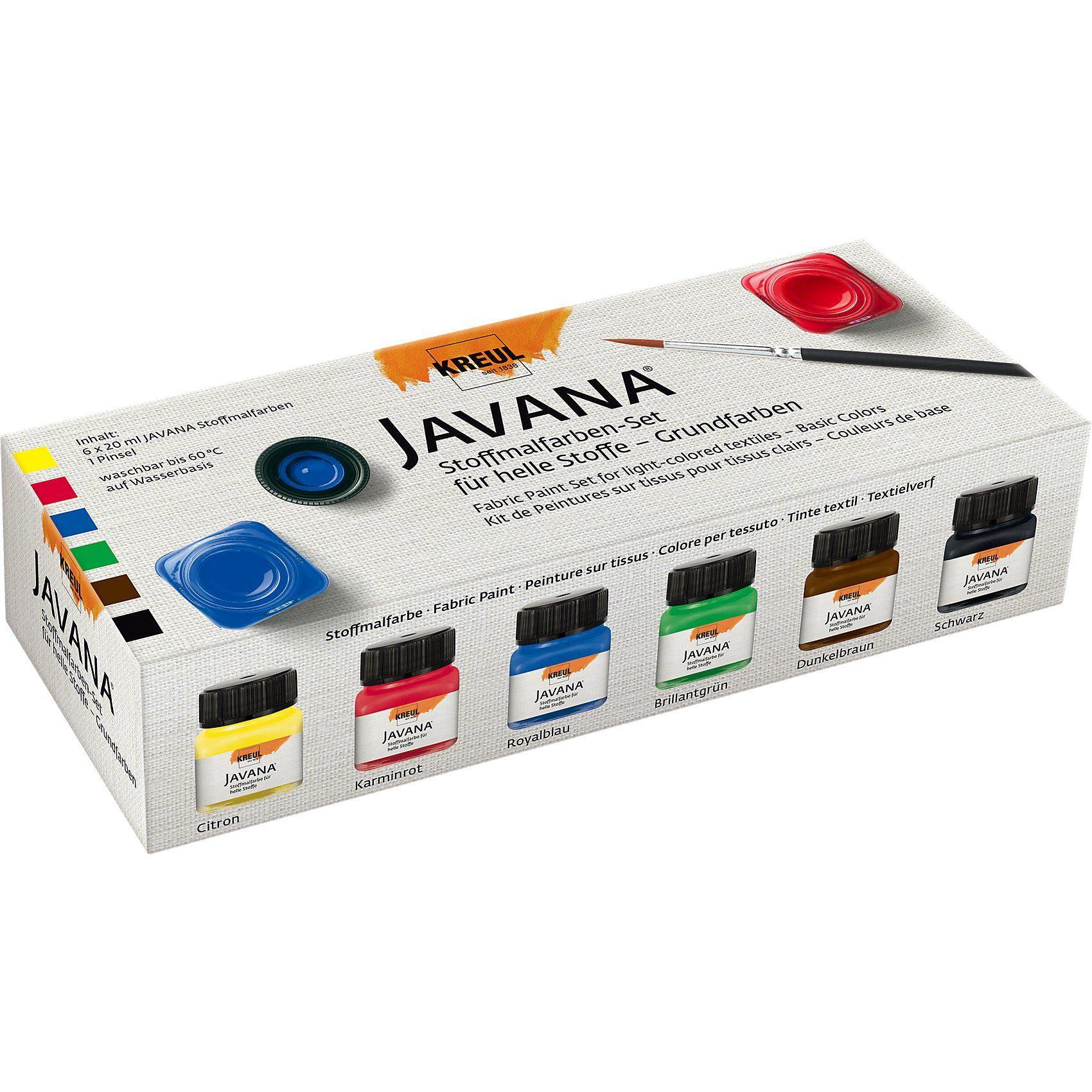 C. KREUL Javana Stoffmalfarben-Set für helle Stoffe Grundfarben, 6 x
