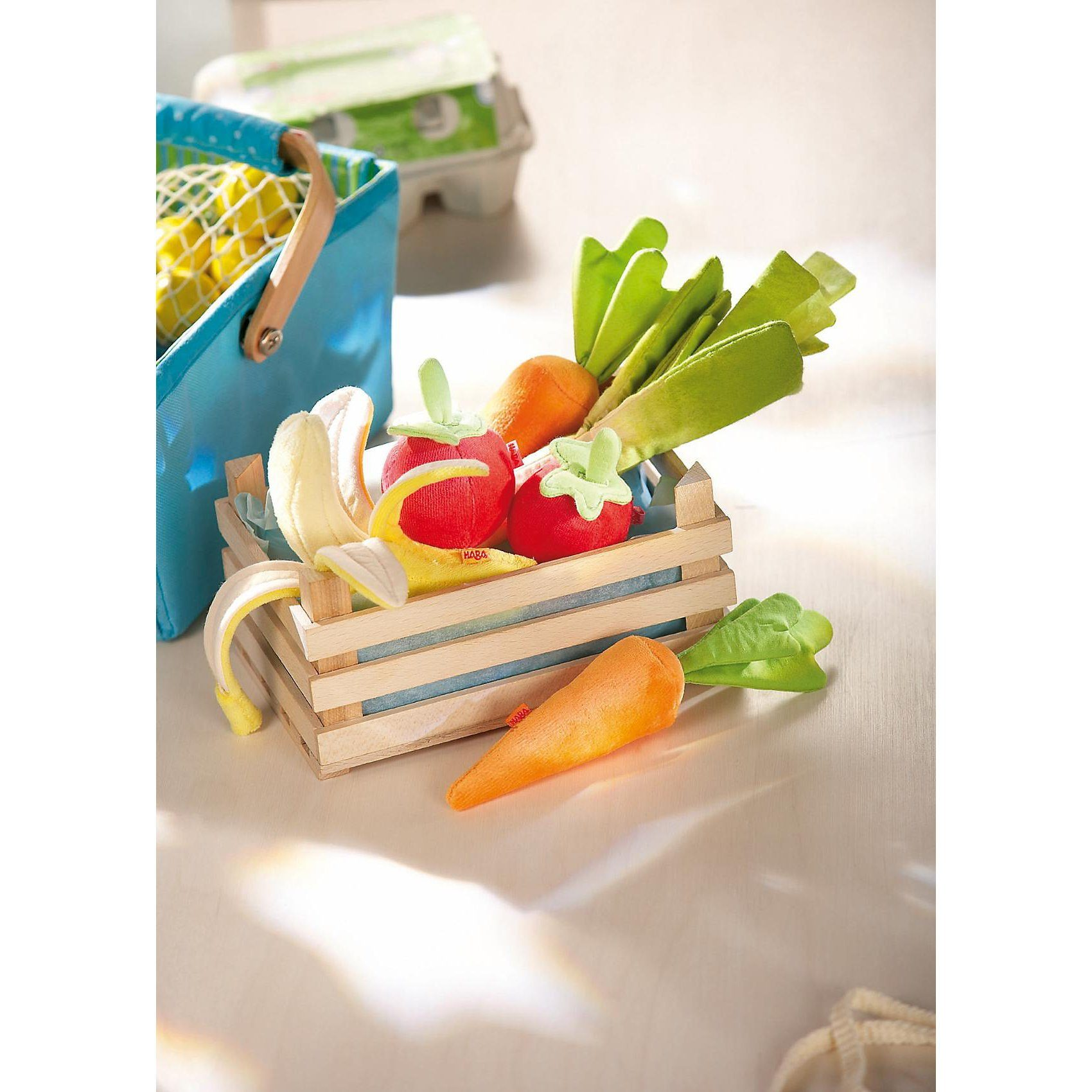 Haba 3818 Gemüsekiste mit Inhalt, Stoff Spiellebensmittel