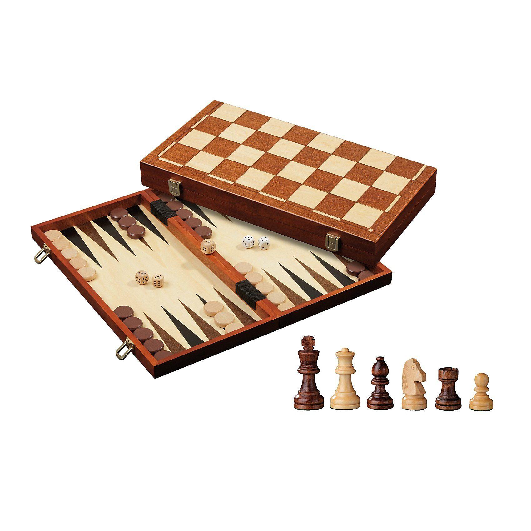 Philos Schach-Backgammon-Dame-Set, Feld 40 mm