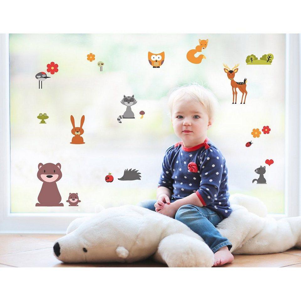 Fenster Sticker Waldtiere, 16-tlg. in mehrfarbig