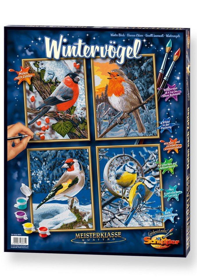 Schipper Malen nach Zahlen, »Meisterklasse Quattro - Wintervögel«