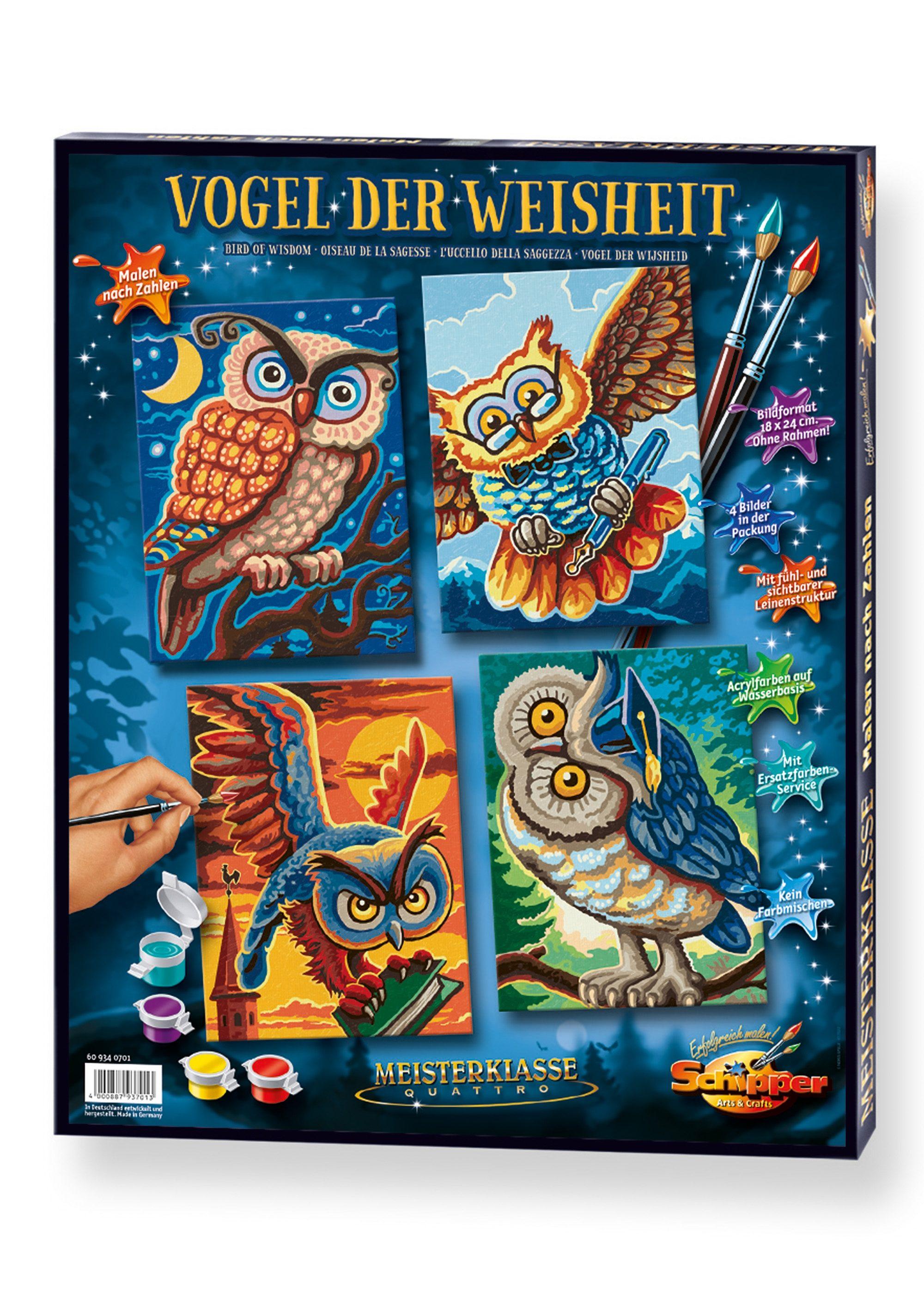 Schipper Malen nach Zahlen, »Meisterklasse Quattro - Vogel der Weisheit«