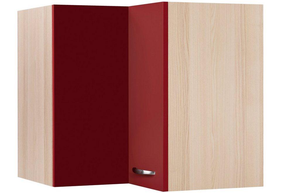 Eck-Hängeschrank »Dakota«, Breite 60 x 60 cm in rot/akaziefarben