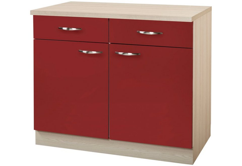 Küchenunterschrank »Dakota«, Breite 100 cm in rot/akaziefarben