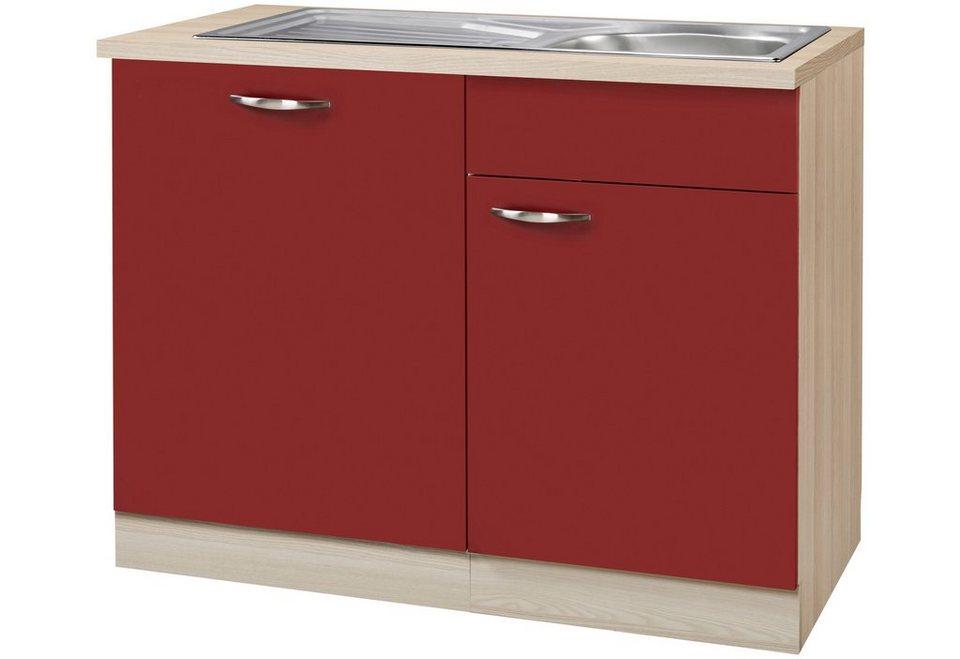 Spülenschrank »Dakota«, Breite 110 cm in rot/akaziefarben