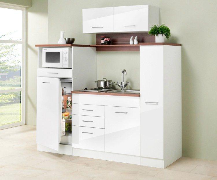 HELD MÖBEL Miniküche »Breite 190 cm«   Küche und Esszimmer > Küchen > Miniküchen   Weiß - Hochglanz - Hochglänzend   Hochglanz - Nussbaum - Eiche - Holzwerkstoff - Mdf - Metall - Hochglänzend   HELD MÖBEL