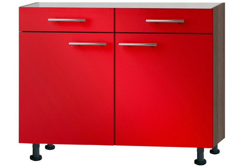 Küchenunterschrank »Knud«, Breite 100 cm in granat rot