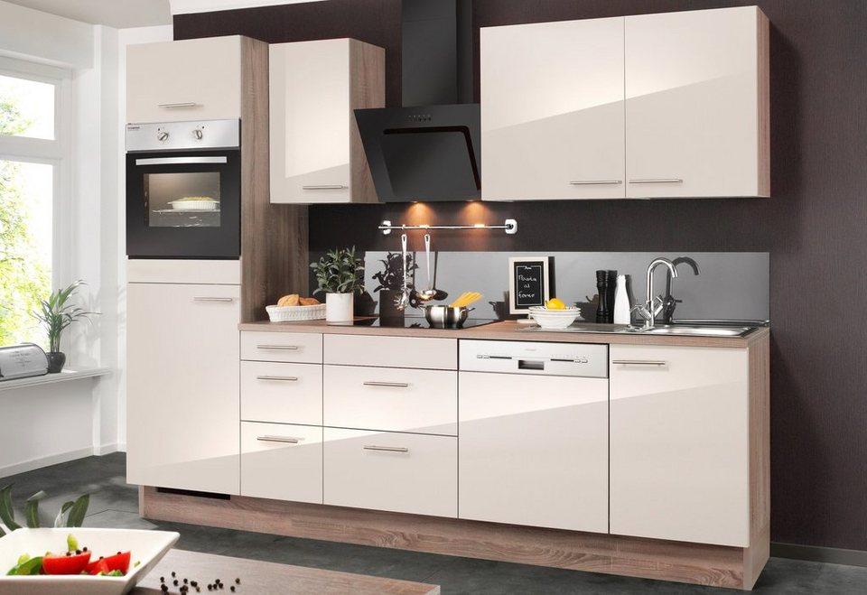 Küchenzeile ohne E-Geräte »Mika«, Breite 270 cm in eichefarben trüffel/sahara beige