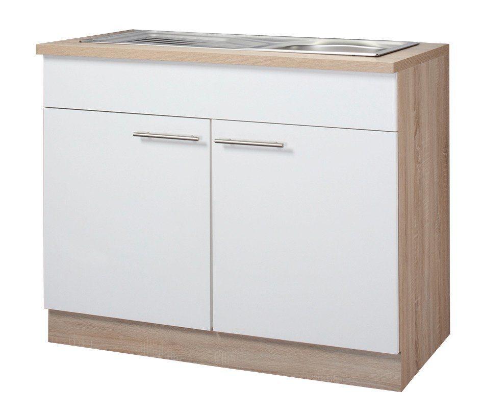 Wiho Küchen Spülenschrank »Montana«, Breite 100 cm | Küche und Esszimmer > Küchenschränke > Spülenschränke | Weiß | Eiche - Holzwerkstoff | wiho Küchen
