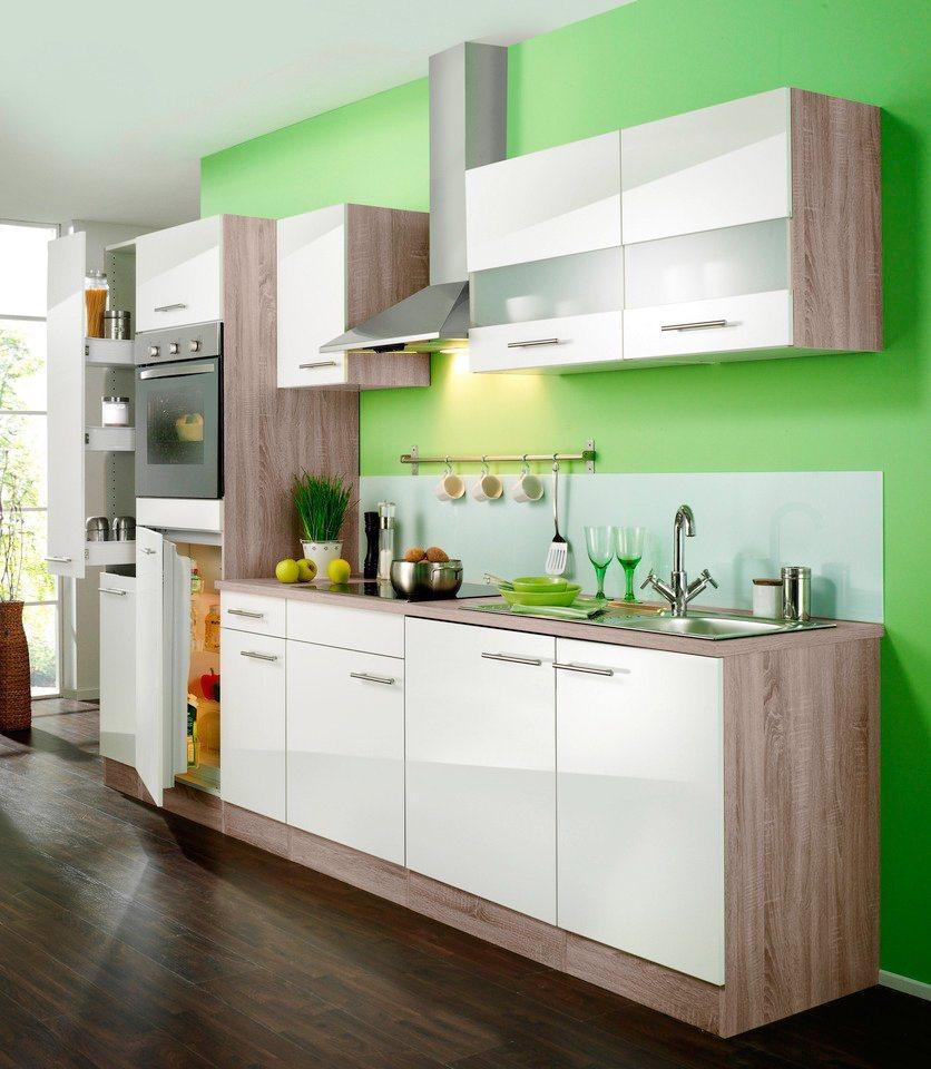 Küchenzeile mit autarken E-Geräten »Rabat«, Breite 270 cm - Set 1 in eichefarben trüffel/weiß