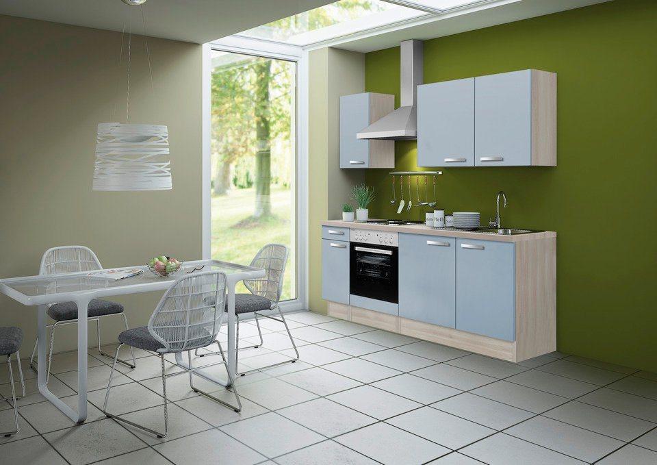 Optifit Küchenleerzeile »Skagen«, Breite 210 cm - Set 1 in akaziefarben/blau