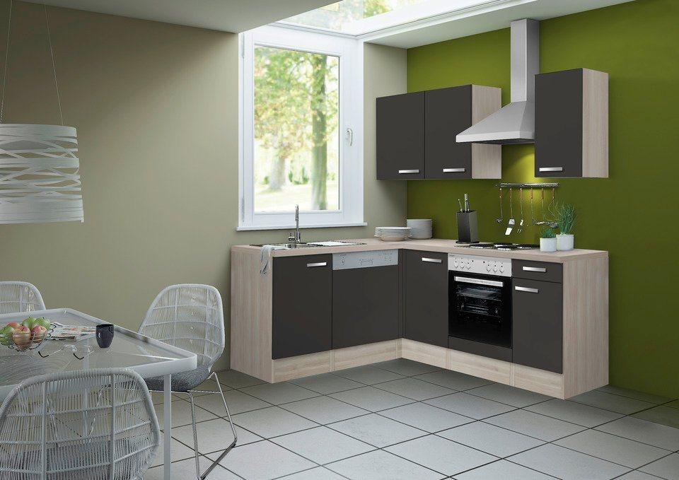 Optifit Winkel-Küchenzeile ohne E-Geräte »Skagen«, Breite 210 x 175 cm in akaziefarben/anthrazit