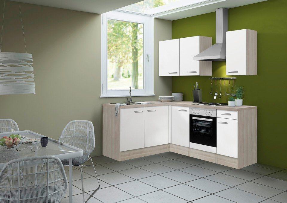 OPTIFIT Winkel-Küchenzeile ohne E-Geräte »Skagen« Breite 210 x 165 cm   Küche und Esszimmer > Küchen > Winkelküchen   Weiß   Holzwerkstoff - Akazie - Metall   OPTIFIT