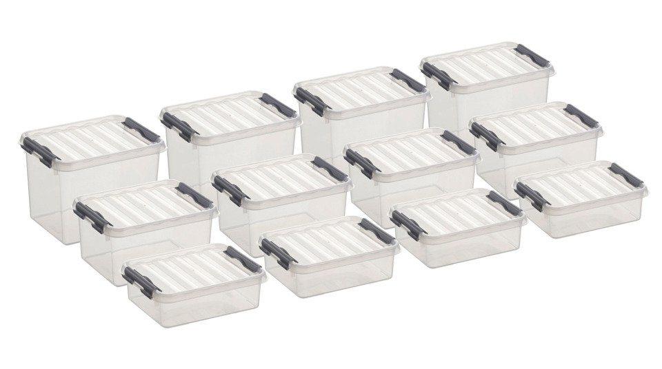 12er Set Aufbewahrungsboxen - verschiedene Größen in weiß
