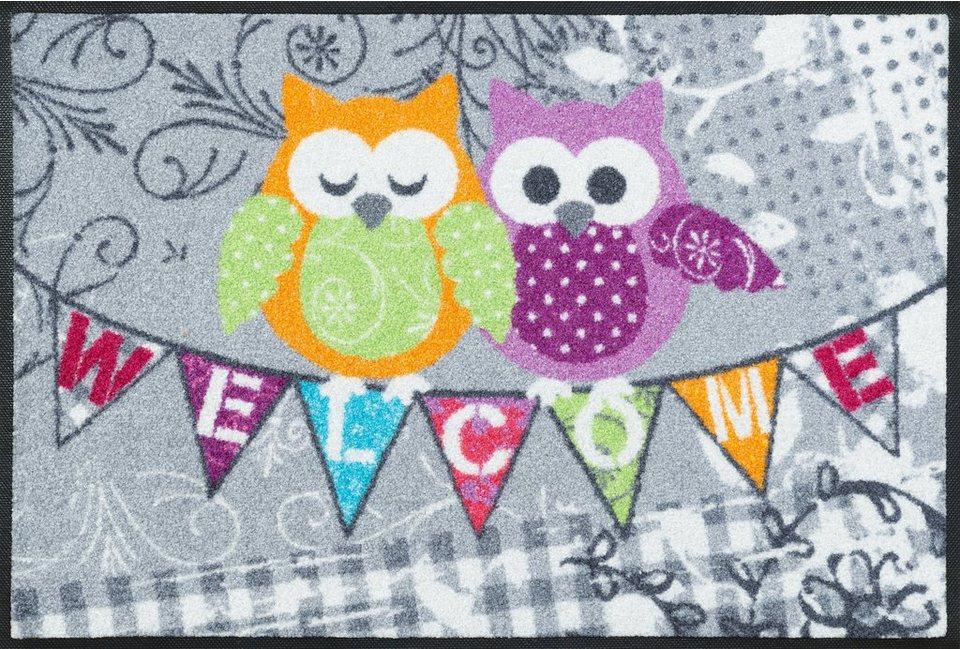 Fußmatte, wash+dry by Kleen-Tex, »Welcome Owls«, rutschhemmend beschichtet in multicolor