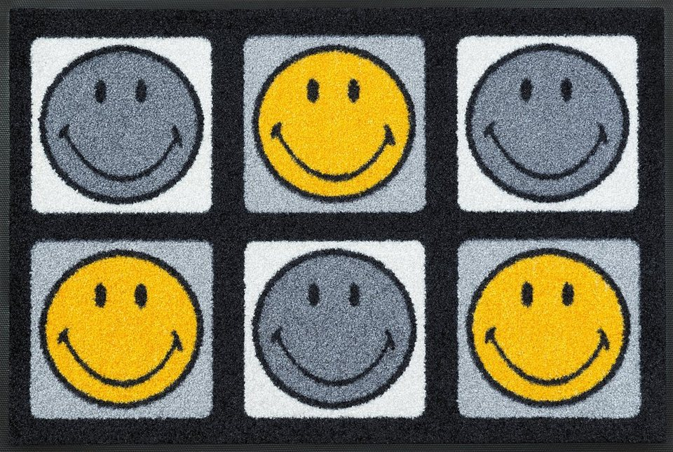 Fußmatte, wash+dry by Kleen-Tex, »Smiley 6 Smileys«, rutschhemmend beschichtet in grau