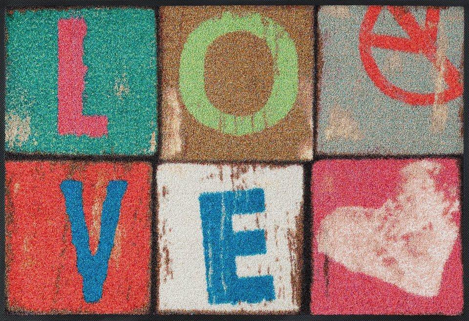 Fußmatte, wash+dry by Kleen-Tex, »Love Letters«, rutschhemmend beschichtet in multicolor