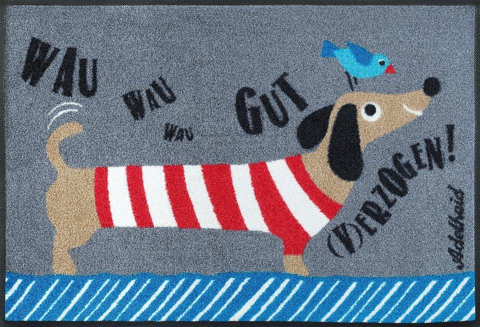Fußmatte, wash+dry by Kleen-Tex, »Gut (v)erzogen«, rutschhemmend beschichtet in multicolor