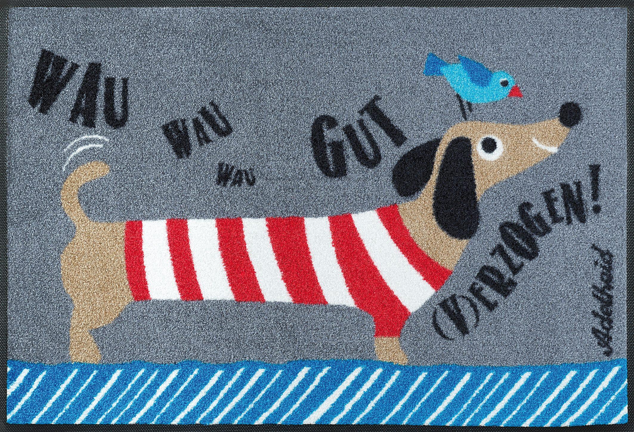 Fußmatte »Gut (v)erzogen«, wash+dry by Kleen-Tex, rechteckig, Höhe 9 mm