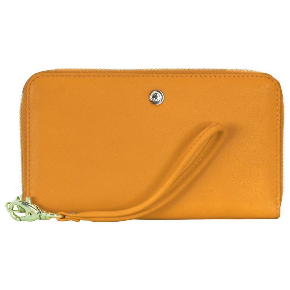 Greenburry Spongy Geldbörse Leder 17 cm Handyfach in gelb