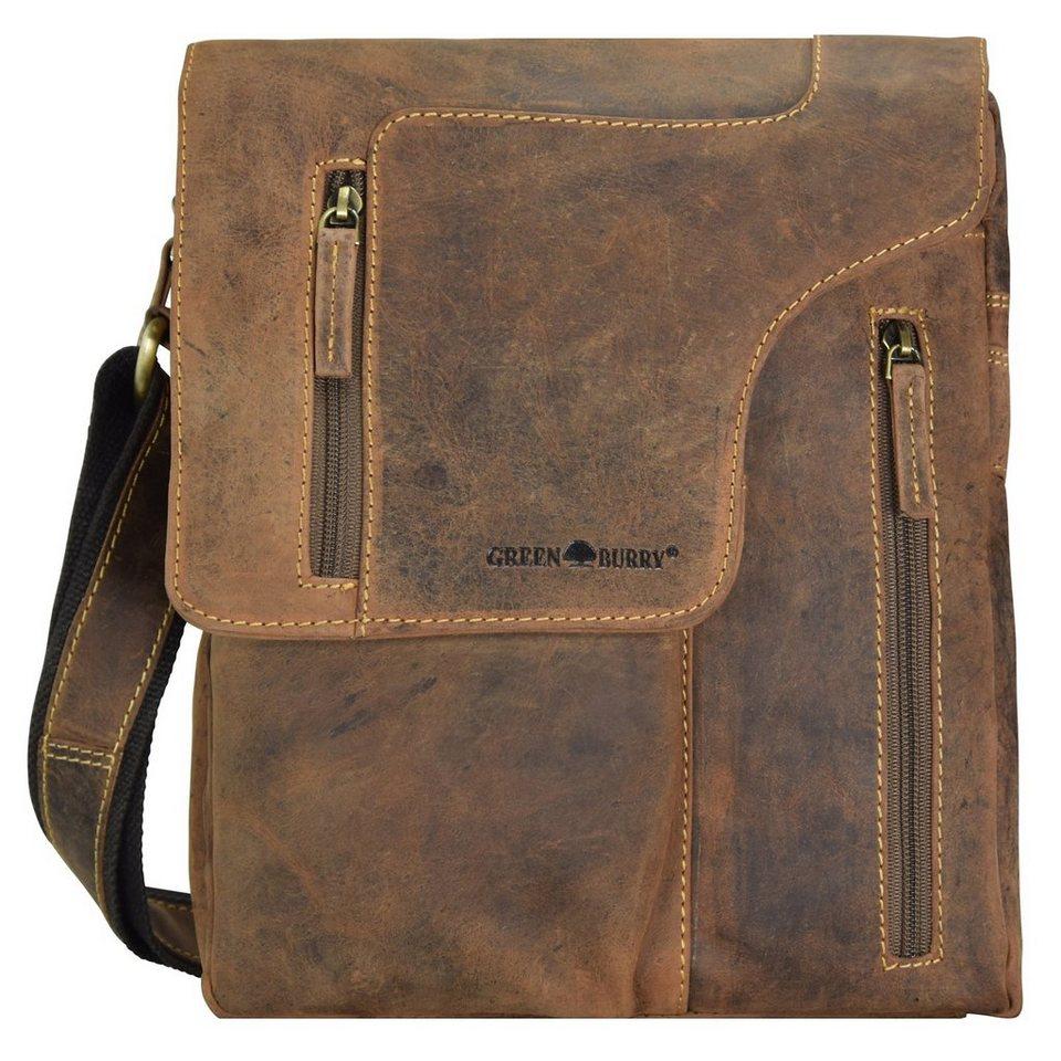 Greenburry Vintage Umhängetasche Leder 17 cm in brown